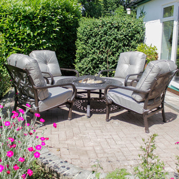 Robert Charles Burlington 4 Seat Lounge Fire Pit Garden Furniture Set