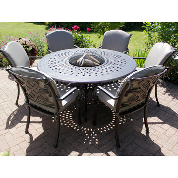 Robert Charles Burlington 150cm 6 Seat Dining Fire Pit Garden Furniture Set