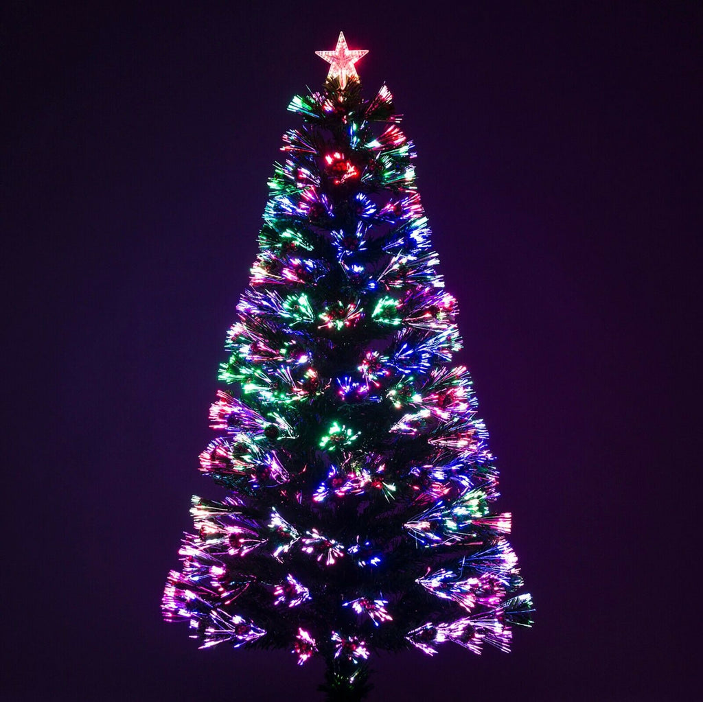 Green Fibre Optic Christmas Tree With Red Berries Coloured Lights Garden Trends