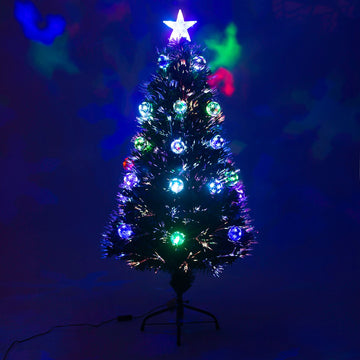 Fibre Optic Green Christmas Tree with Multicoloured LED Lights and Baubles - 2ft, 3ft, 4ft, 5ft, 6ft