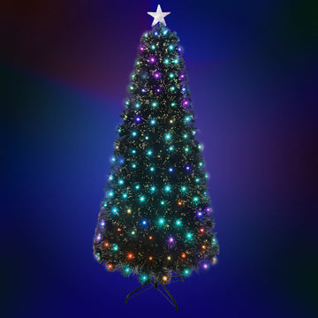 Green Fibre Optic Christmas Tree with Multi Coloured LED Lights - 2ft, 3ft, 4ft, 5ft, 6ft, 7ft