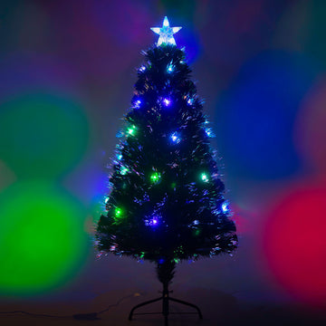 Fibre Optic Green Christmas Tree with Multi-Coloured LED Lights - 2ft, 3ft, 4ft, 5ft, 6ft, 7ft