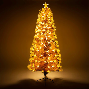 Gold Christmas Tree with Fibre Optics and Warm White LED Lights - 2ft, 3ft, 4ft, 5ft, 6ft