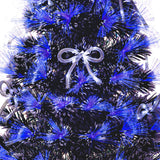 White Tipped Green Fibre Optic Christmas Tree with Blue LED Lights and White Bows - 2ft, 3ft, 4ft, 5ft, 6ft