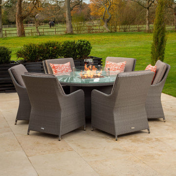 Bracken Outdoors Georgia 6 Seat Round Rattan Garden Furniture Gas Fire Pit Set 1.35m