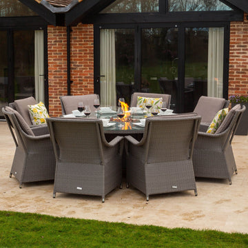 Bracken Outdoors Washington 8 Seat Round Rattan Garden Furniture Gas Fire Pit Set 1.8m