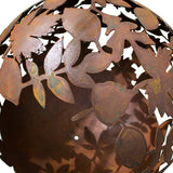 Garden Fire Ball 90cm Leaf Design with Rust Finish