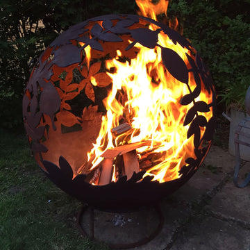Garden Fire Ball 70cm Leaf Design with Black Finish