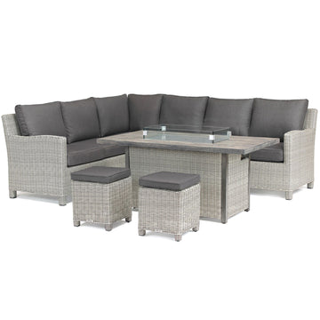 Kettler Palma Corner Left Hand White Wash Wicker Outdoor Sofa Set with Fire Pit Table