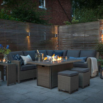 Kettler Palma Corner Left Hand Rattan Outdoor Sofa Set with Fire Pit Table