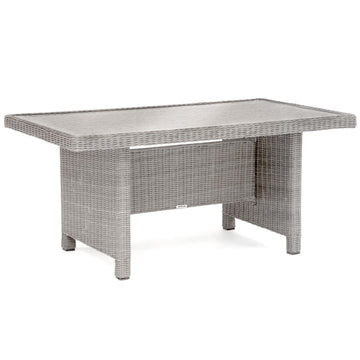 Kettler Palma White Wash Wicker Casual Dining Glass Top Table