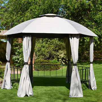 Bracken Outdoors Big Hex Hexagonal Grey Gazebo