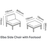 Kettler Elba Aluminium Modular Side Chair with Footstool Garden Furniture Set