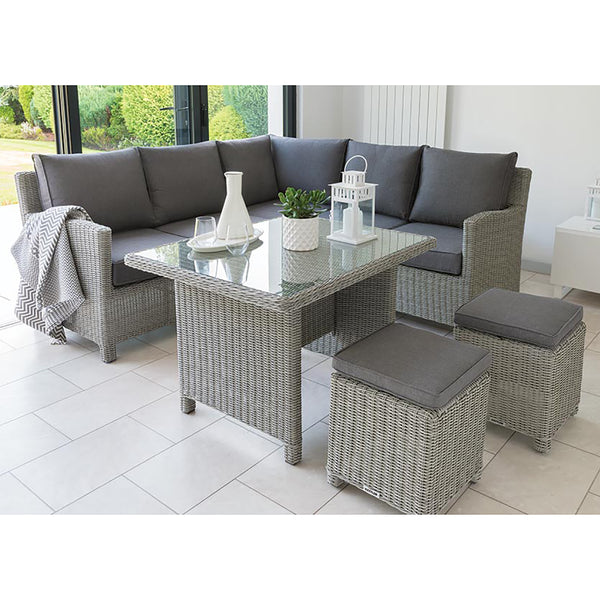 Kettler Palma Mini Corner Rattan Outdoor Sofa Set with Glass Table -White Wash