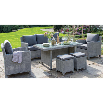 Kettler Palma White Wash Wicker Outdoor Casual Dining Lounge Sofa Set with Glass Top Table