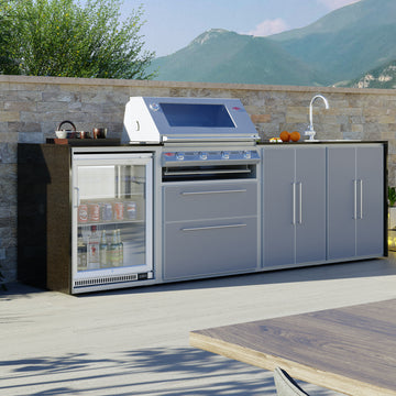 Profresco Signature S3000s 4 Burner Barbecue Quatro Outdoor Kitchen -Silver Grey