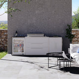 Profresco Proline Roaster 6 Burner Barbecue Trio Outdoor Kitchen - White