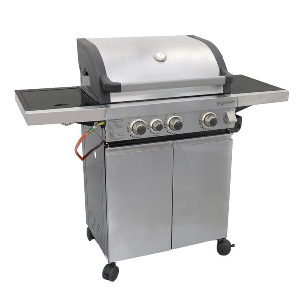 Grillstream Classic 3 Burner Roaster Gas Barbecue with Cabinet and Side Burner - Stainless Steel