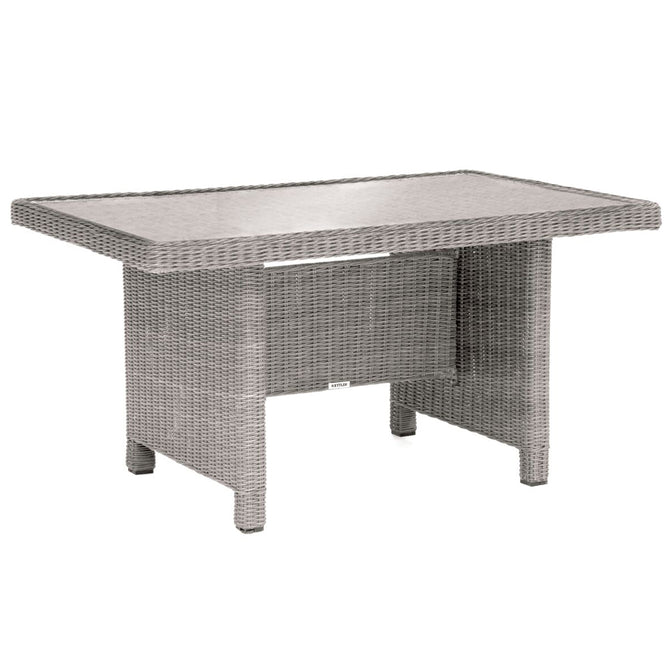 Kettler Palma Mini White Wash Wicker Casual Dining Glass Top Table