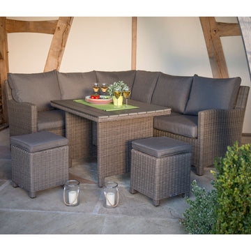 Kettler Palma Mini Corner Rattan Outdoor Sofa Set with Slatted Table