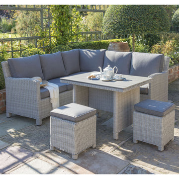 Kettler Palma Mini Corner Rattan Outdoor Sofa Set with Slatted Table - White Wash