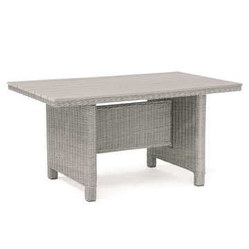 Kettler Palma Mini White Wicker Casual Dining Slat Top Table