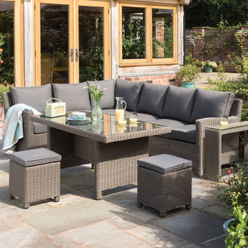 Kettler Palma Corner Right Hand Rattan Outdoor Sofa Set with Glass Table