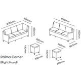 Kettler Palma Corner Right Hand White Wash Wicker Outdoor Sofa Set with Adjustable S-Q Table