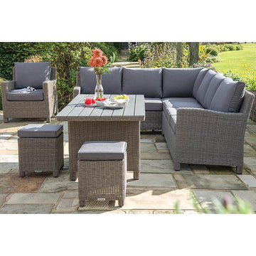 Kettler Palma Corner Rattan Outdoor Sofa Set with Slatted Table