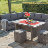 Kettler Palma Corner Right Hand Rattan Outdoor Sofa Set with Slatted Table
