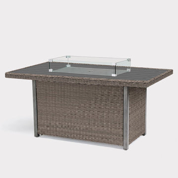 Kettler Palma Rattan Fire Pit table With Aluminium Slat Top