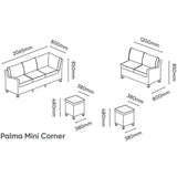 Kettler Palma Mini Corner Rattan Outdoor Sofa Set with Glass Top Table