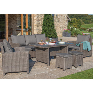 Kettler Palma Rattan Outdoor Casual Dining Sofa Set with Glass Table