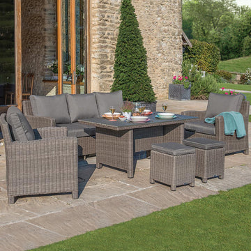 Kettler Palma Rattan Outdoor Casual Dining Lounge Sofa Set with Slat Top Table
