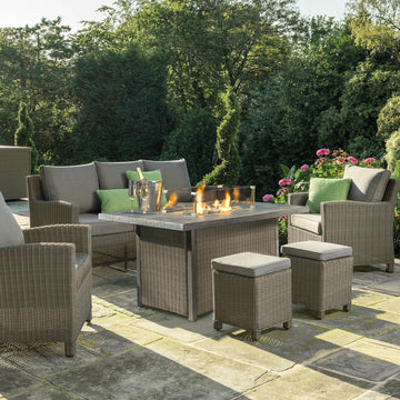 Kettler Palma Rattan Outdoor Casual Dining Lounge Sofa Set with Fire Pit Table