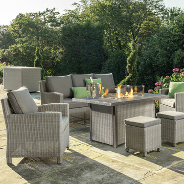 Kettler Palma White Wash Wicker Outdoor Casual Dining Lounge Sofa Set with Fire Pit Table