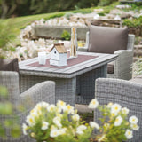 Kettler Palma White Wash Wicker Outdoor Casual Dining Lounge Sofa Set with Slat Top Table