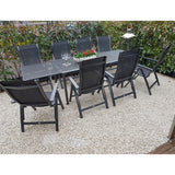Alexander Rose Portofino 8 Seater Metal Garden Furniture Set with Extending Table & Recliner Chairs