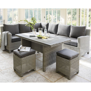 Kettler Palma Corner Rattan Outdoor Sofa Set with Slatted Table -White Wash