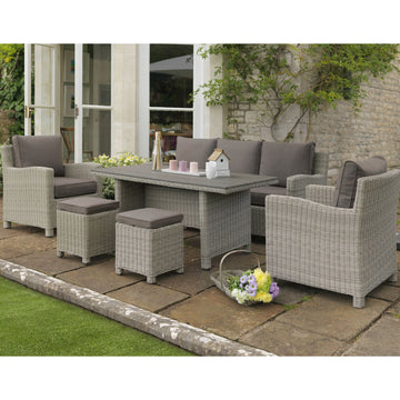 Kettler Palma Rattan Outdoor Casual Dining Sofa Set with Slatted Table - White Wash
