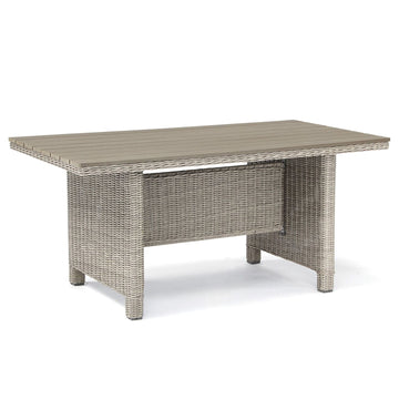 Kettler Palma White Wash Wicker Casual Dining Slat Top Table