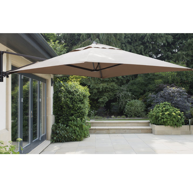 Bracken Outdoors Wall Mounted 2m Square Taupe Cantilever Garden Parasol