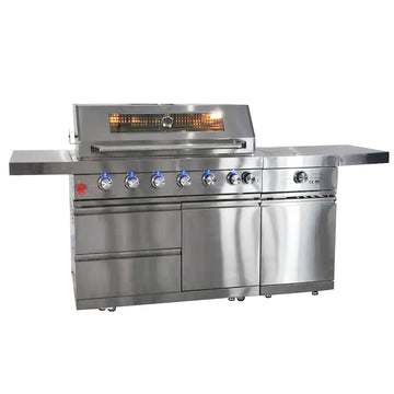 Draco Grills Z640 Deluxe 6 Burner Stainless Steel Gas Barbecue with Sear Station