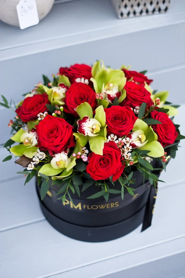 Red Rose & Cymbidium Orchid Hatbox