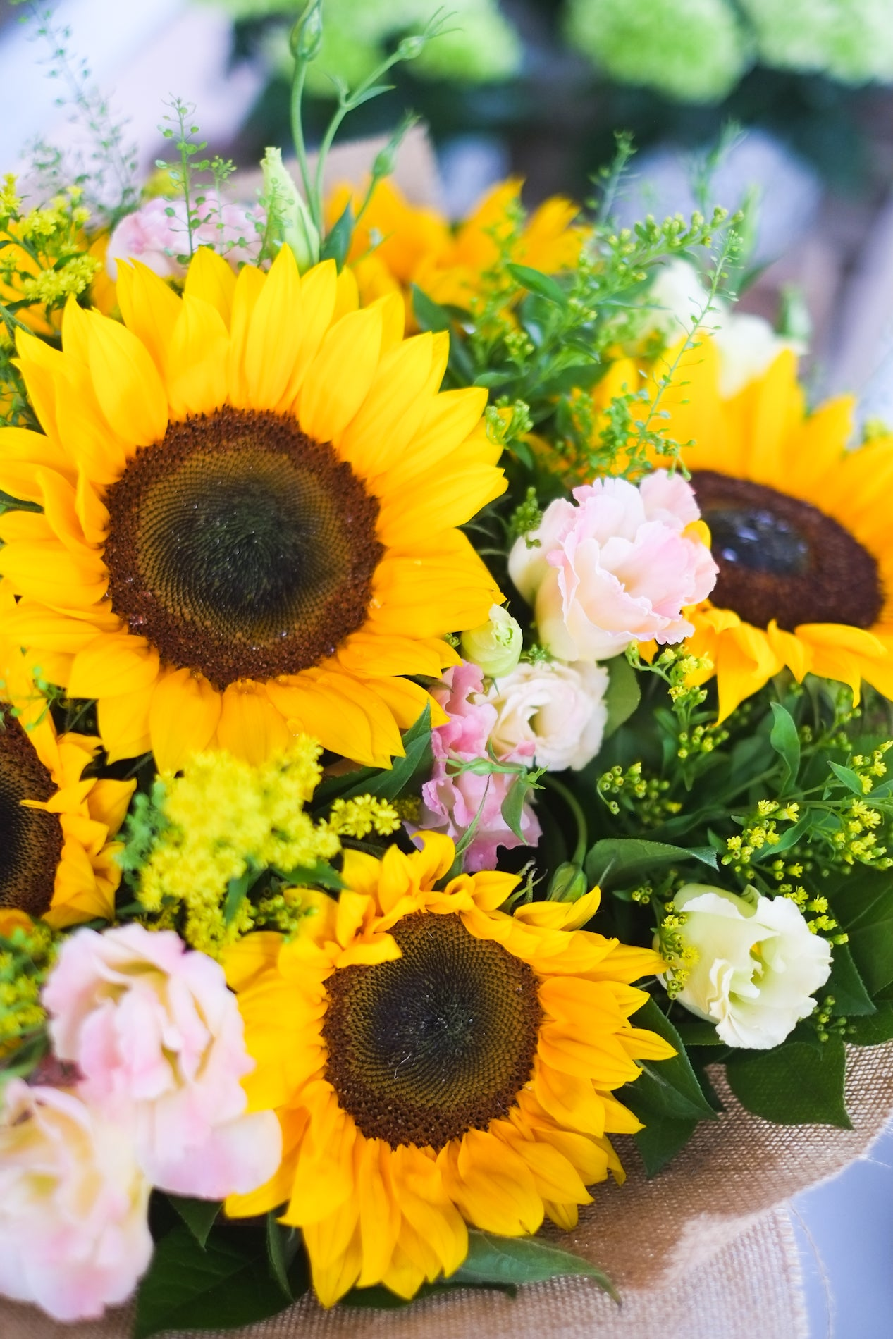 Sunflowers flower bouquet with lisianthus