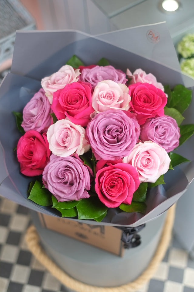 Scented Large Headed Roses in Lilac, Cerice Pink and Light Pink bouquet hand-tied