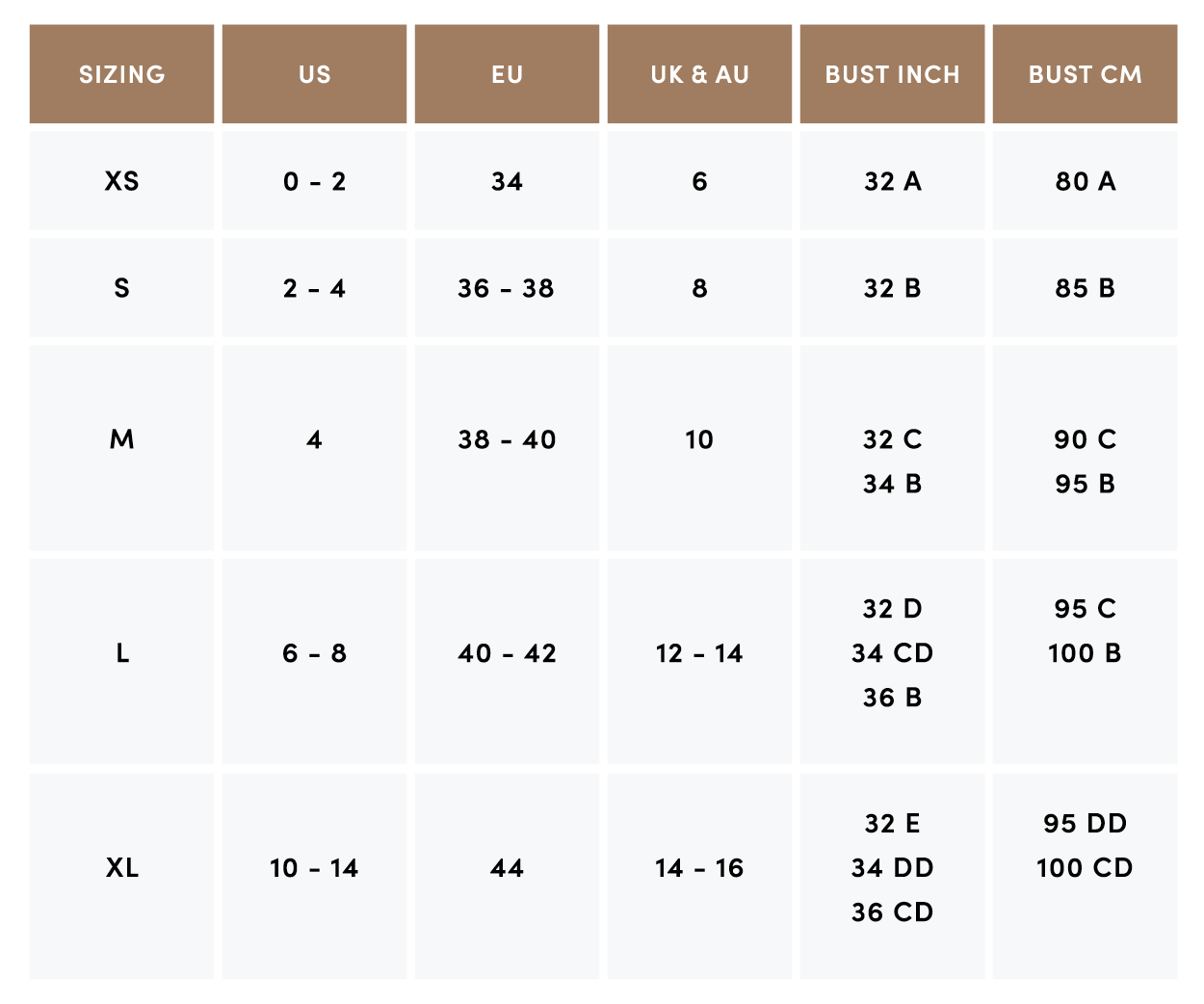Abysse Neoprene Size Chart