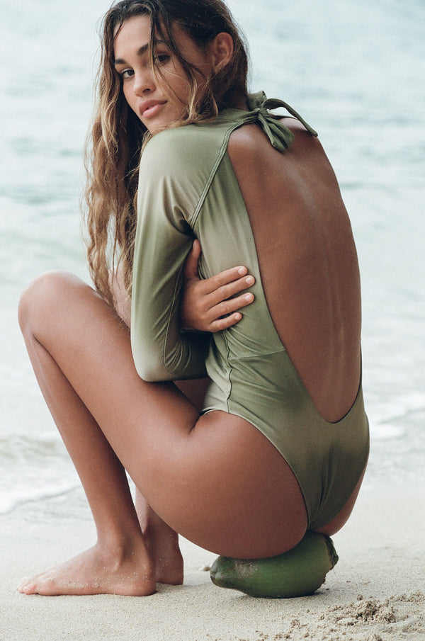 Billie | Sustainable One Piece Swimsuit - Long Sleeve - Canyon | ABYSSE