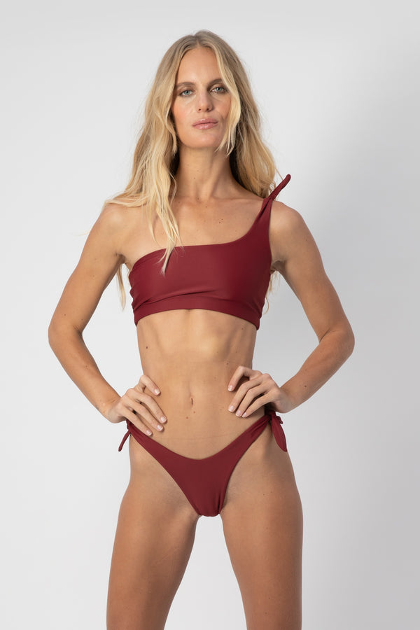 Jones One-Shoulder Bikini Top- Plum | ABYSSE (Free Shipping in USA)