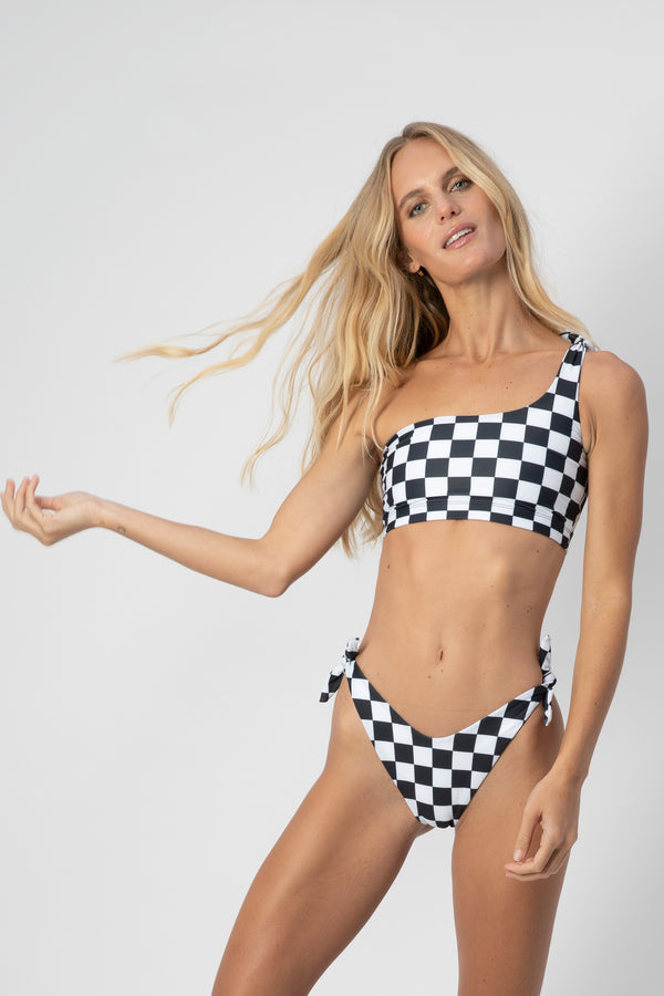 Jones One-Shoulder Bikini Top- Checkers | ABYSSE (Free Shipping in USA)